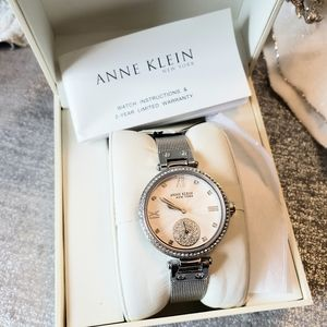 NWT Anne Klein Silver Mesh Crystal Watch